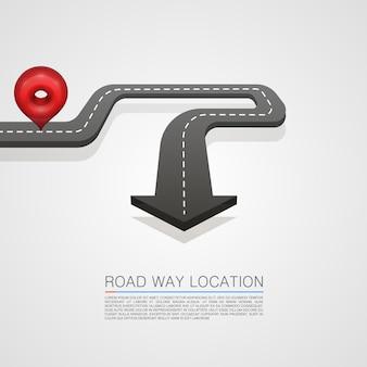 Flecha de ubicación de la carretera sobre el fondo blanco. ilustración vectorial