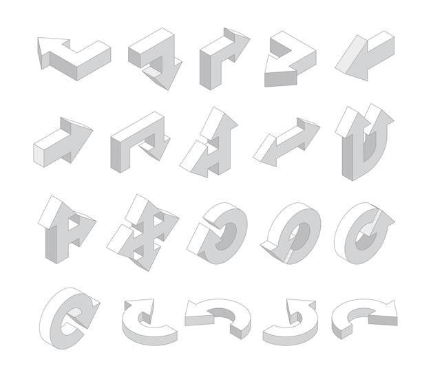Flechas 3d. conjunto de flechas de dirección varias blancas isométricas. ilustración de flecha isométrica, colección de interfaz de dirección
