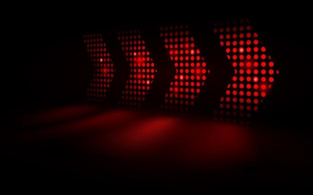 Las flechas abstractas de la luz roja aceleran futurista en fondo oscuro.
