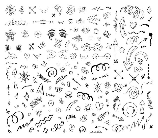 Flechas abstractas y otros elementos en estilo dibujado a mano