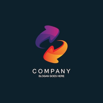 Las flechas actualizan el diseño del logotipo
