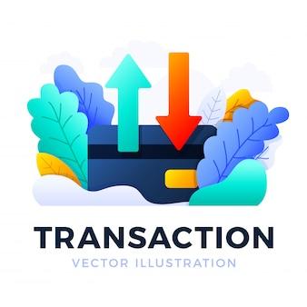Flechas hacia arriba y hacia abajo ilustración de vector de tarjeta de crédito aislado. el concepto de transferencia de datos, transacciones de una cuenta bancaria. parte posterior de una tarjeta de crédito con dos flechas.