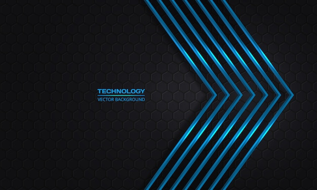 Flechas azules sobre un fondo oscuro de cuadrícula abstracta hexagonal. flechas metálicas azules modernas futuristas y telón de fondo de panal gris oscuro.