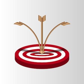 Flechas del blanco disparo fallido, intentos inexactos de golpear el objetivo de tiro con arco