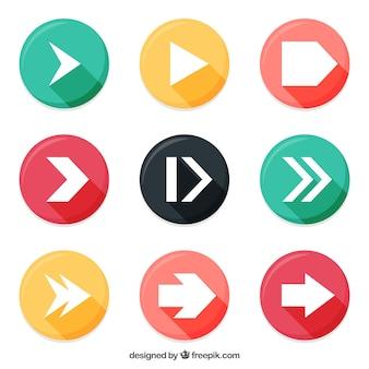Flechas en botones redondos