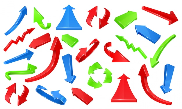 Flechas brillantes 3d multicolores. señales apuntando conjunto de vectores
