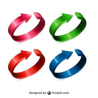 Flechas circulares 3d de cuatro colores