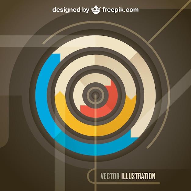 Flechas circulares en diseño de plantilla retro