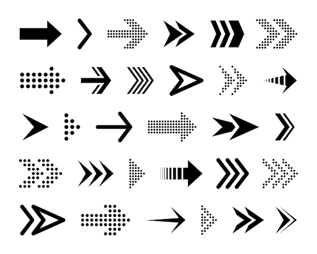 Flechas conceptuales negras. varios iconos negros. cursor.
