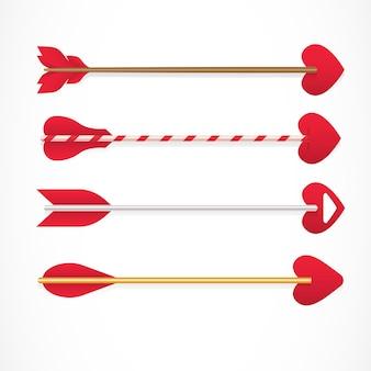 Flechas de cupido con consejos en forma de corazones