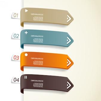 Flechas de color etiqueta de material de fondo conjunto vector creativo