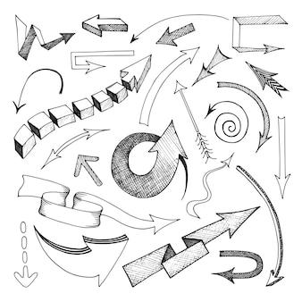 Las flechas dibujadas lápiz de la mano fijaron el ejemplo aislado plano del vector