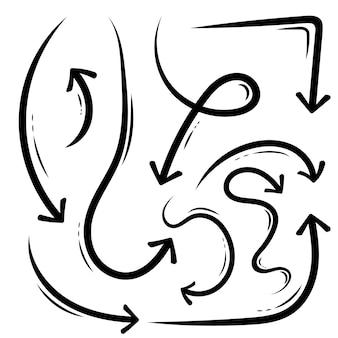 Flechas dibujadas a mano, bosquejo del grunge doodle hecho a mano.