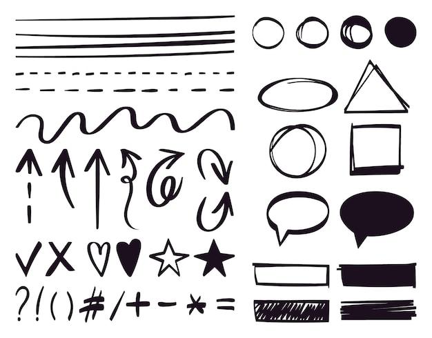 Flechas dibujadas a mano y elementos de texto