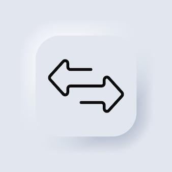 Flechas de dirección para transferencia, sincronización y migración de datos. puente de tráfico o conept de cambio. transferir el icono de flechas. signo de intercambio. botón web de interfaz de usuario blanco neumorphic ui ux. neumorfismo. vector