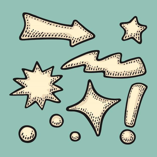 Flechas, estrellas, burbujas, punto, rayo, signo de exclamación. grabado de la vendimia