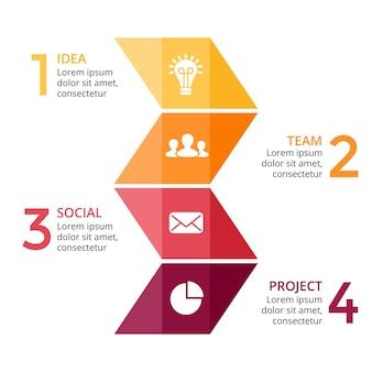 Flechas gráfico vector infografía triángulos plantilla de presentación diagrama gráfico 4 pasos partes