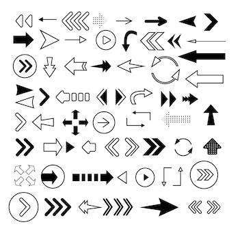 Flechas grandes iconos conjunto negro. icono de flecha colección de flechas. modernas flechas planas aisladas sobre fondo blanco.
