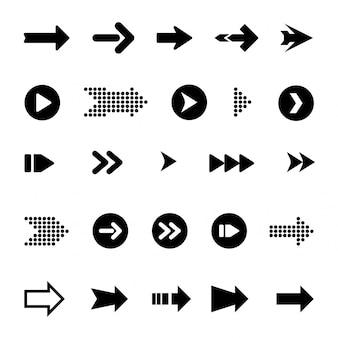 Flechas grandes negro set iconos. icono de flecha colección de flecha
