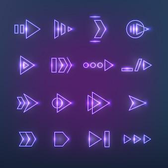 Flechas holográficas de neón direccionales.