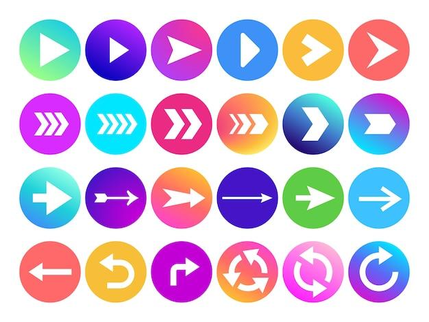 Flechas en el icono de círculo. botón de flecha de navegación del sitio web, colorido degradado redondo hacia atrás o siguiente signo e iconos de punta de flecha web