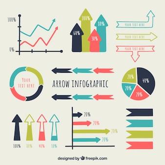 Flechas infográficas de colores dibujadas a mano