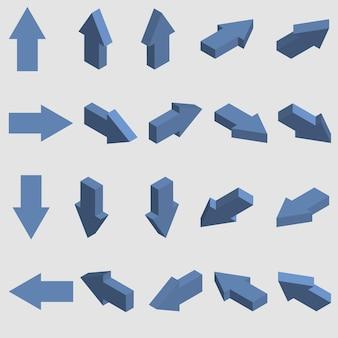 Flechas isométricas. conjunto de punteros 3d. ilustración vectorial.
