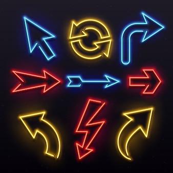 Flechas de luz de neón