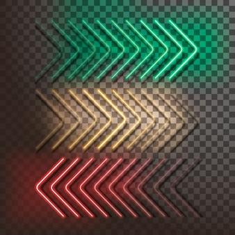Flechas de neón verde, amarillo y rojo sobre un fondo transparente. ilustración vectorial