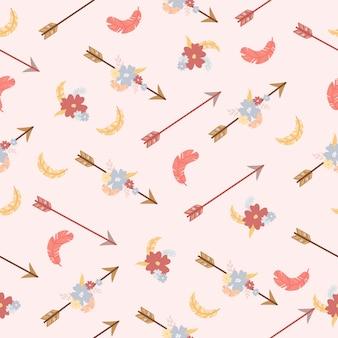 Flechas patrón plumas flores