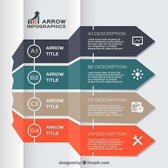 Flechas planas para la infografía