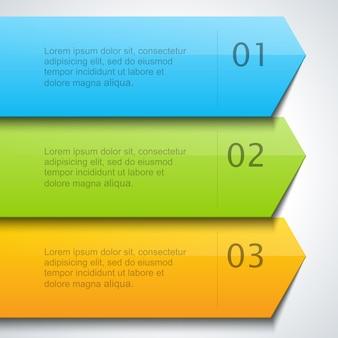 Flechas de rayas de infografía con plantilla de números.