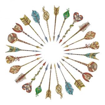 Flechas tribales dispuestas en un círculo