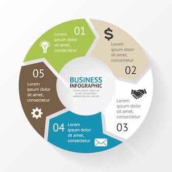 Flechas vector plantilla de diapositiva de presentación de infografía diagrama circular gráfico con opciones de 5 pasos