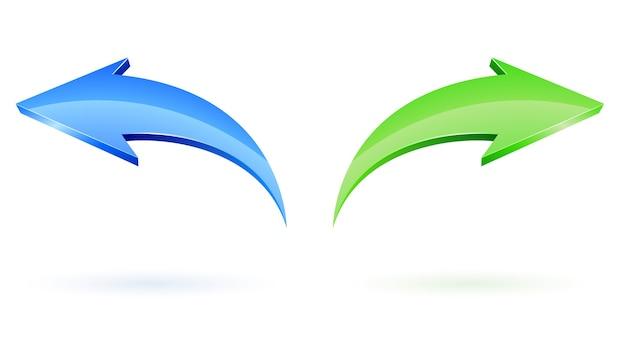 Flechas vectoriales siguientes y posteriores sobre blanco