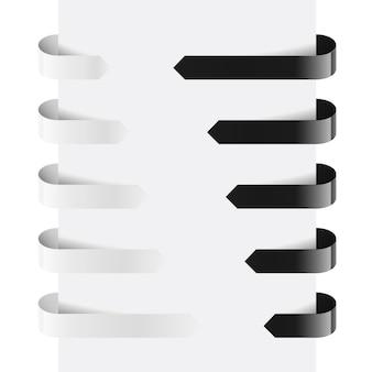 Flechas web en blanco y negro. ilustración sobre fondo blanco