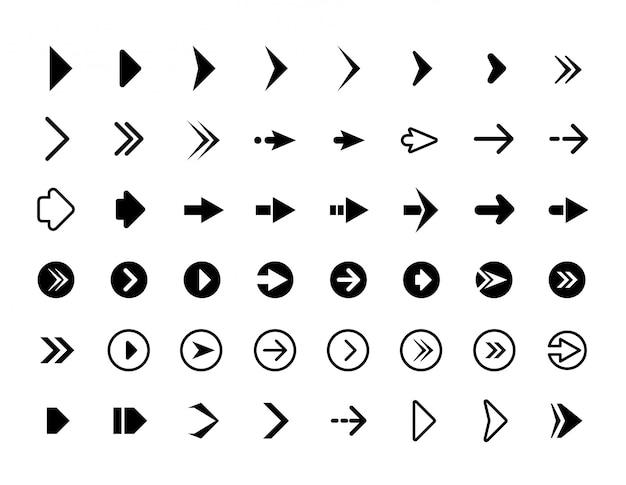 Flechas web símbolos para flechas de dirección de sitio web signos botones iconos de infografía