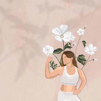 Flexionando los músculos del fondo del vector de la frontera con la ilustración floral de la mujer del yoga