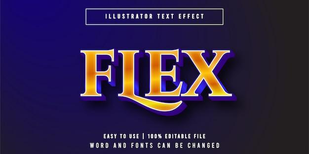Flexionar. estilo gráfico de efecto de texto de lujo de oro editable