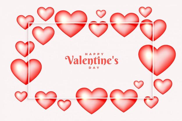 Floarting corazones burbujas marco para la tarjeta de felicitación del día de san valentín