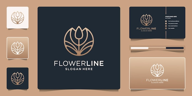 Flor abstracta de belleza femenina con estilo de arte de línea. logotipo minimalista para salón, moda, cuidado de la piel, cosmética, yoga, spa y productos.