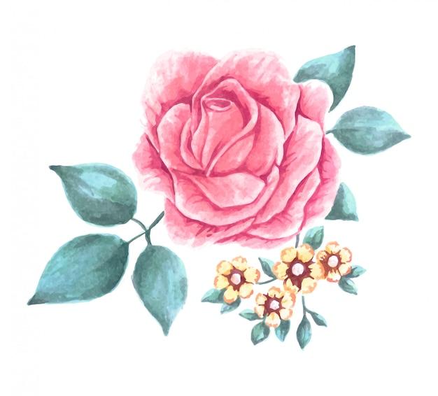Flor de acuarela pintada a mano