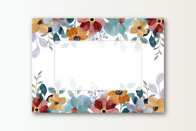 Flor de acuarela con tarjeta de marco dorado