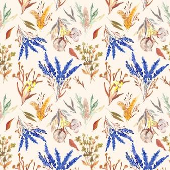 Flor de algodón acuarela de patrones sin fisuras