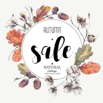 Flor de algodón vintage vector otoño, tarjeta de venta