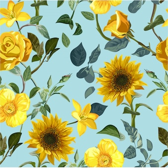 Flor amarilla de patrones sin fisuras