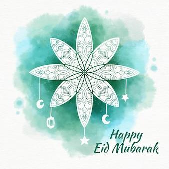 Flor árabe acuarela eid mubarak