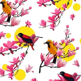 Flor de ave vector plantilla de color
