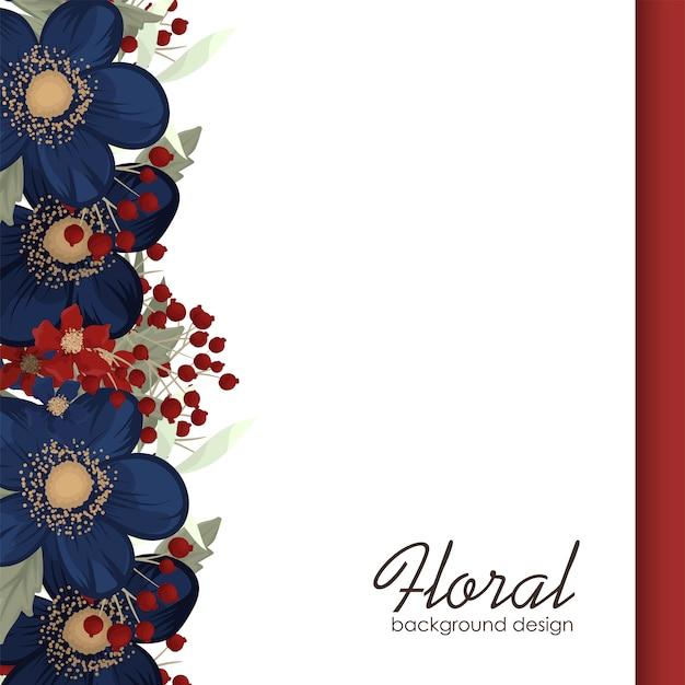 Flor azul fondo floral frontera