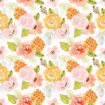 Flor bastante suave acuarela de patrones sin fisuras